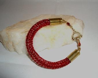 Red Viking Knit Bullet Bracelet