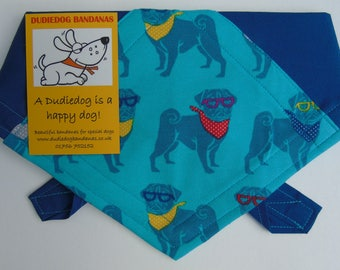 Pug Dog Bandana! Perfect pug accessory! Tie on, high quality, Handmade in the Yorkshire Dales by Dudiedog. Free UK P&P. 7 sizes!