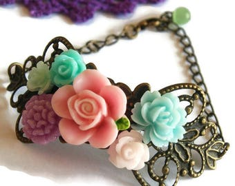 Floral Corsage Bracelet-Antique Brass-Victorian Regency-Aristocratic Fashion-Teen Gift-Mother's Day-Pretty Bracelet-Fashion Accessory-Trend