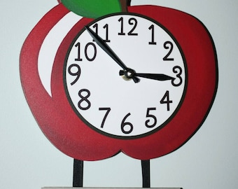 Apple Personalized Teacher's Wooden WALL CLOCK for Kids Bedroom Baby Nursery Playroom WC0095