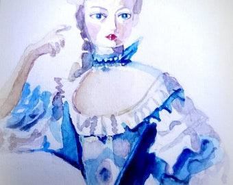 Originele aquarel. Dame in blauwe 18-e eeuwse japon.