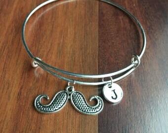 Mustache Initial Bracelet, Mustache Jewelry, Hipster Bracelet, Hipster Jewelry, Retro Bracelet, Retro Jewelry, Mustache