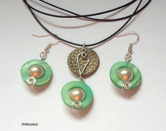 Parure 2 pièces élégante Nacre de Majorque et Nacre ton vert et or fil de cuir cadeau pour ellle