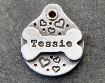 Bone Dog Tag for Dogs - Personalized Dog Tag - Pet ID Tag - Dog Name Tag - Custom Dog Collar Tag - Puppy Tag - Metal Pet Tag