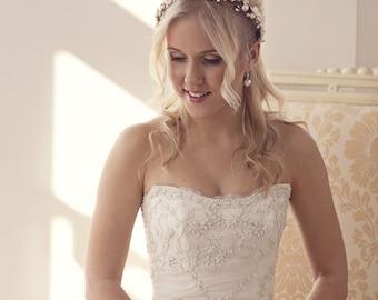 Flower crown, rustic flower crown, Woodland hair crown, White flower crown, ivory bridal hair piece, flower hair wreath, floral crown