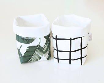 Mini Storage Patterns, Small Storage Basket, Nursery Storage Sack, Shelf Storage Bin, Monochrome Storage, Nursery Decor