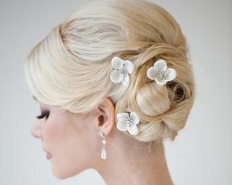 Silk Flower Hair Pins, Bridal Hair Pins, Weddiing Hair Pins, Bridal Flower Hair Accessories - ALAIS