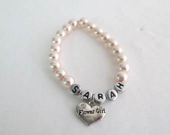 Personalized Bracelet With Stud Earrings Flower Girl Personalized Bracelet With Matching Earrings Wedding Gift Wedding Bracelet
