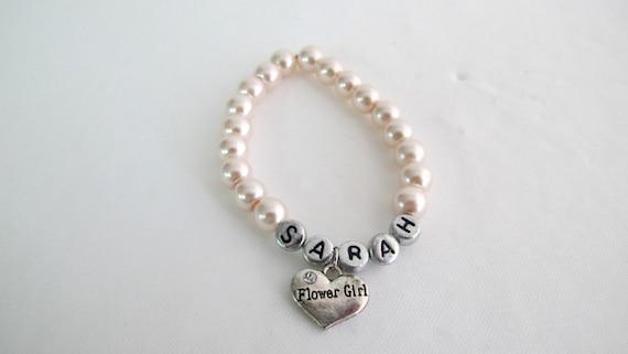 Personalized Bracelet With Stud Earrings Flower Girl Personalized Bracelet With Matching Earrings Wedding Gift Wedding Bracelet