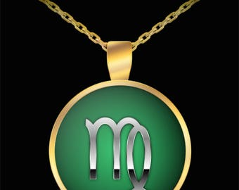 Virgo Necklace - Zodiac Horoscope Astrology Sign Silver & Gold Plated Pendant UV  Water Resistant - virgo jewelry -virgo pendant