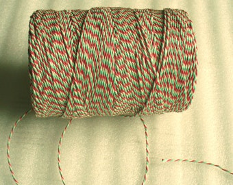 Christmas Twine, Baker's Twine Full spool 300 m red green white twine, Christmas string