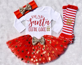 Christmas Outfit Girl. Girl's Christmas Outfit. Toddler Christmas Outfit. Baby Girl Christmas Outfit. Holiday Outfit Girl. S16 XMS (RED)