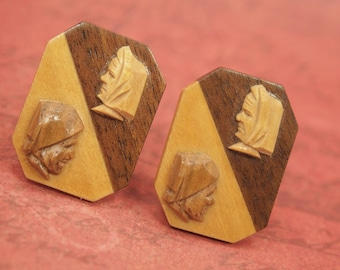 Vintage Folk Earrings - Hand Carved Wood Cameos - Folk Costumed Man & Woman - Two Tone Wood Base - Non Pierced Screw Back Earrings - 1  1/8""
