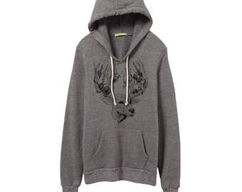 Grey Deer Hoodie - Heather Gray Athletic Hoodie - Small, Medium, Large, XL - Eco Friendly Clothing