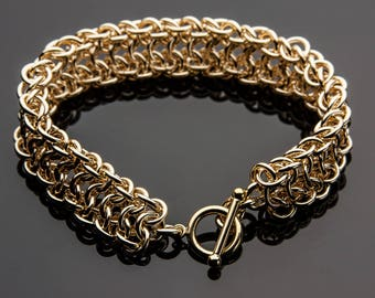 Vipera Berus 4N1 Handcrafted Chain Maille Bracelet, Vipera Berus 4N1 Bracelet 14K Yellow Gold Filled, Chain Maille Bracelet 14K Gold Filled