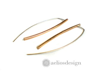 Simple Bar Rose Gold Earrings - Red Brass with Sterling Silver Ear wires