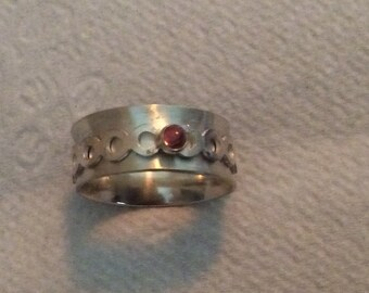 Sterling silver spinner ring with amethyst, peridot, and pink tourmaline