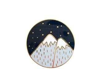 Mountains Enamel Pin - Sleepy Mountain Gold Pin