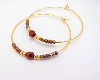 Hoop Earrings, Gold Plated Hoops, Red Itis Seed Bead Hoop Earrings, Large Gold Plated Earrings, Gold Hoops, Czech Glass Beaded Earrings