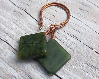 Serpentine Stone and Copper Earrings. Square Green Earrings. Hammered Copper Earrings. JemstoneZ Handmade Earrings.
