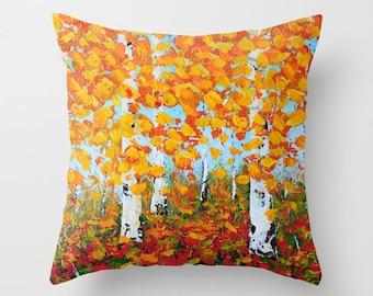 Birch Tree Pillow, Orange Pillow Cover, Yellow Pillow, Art Pillow, Decorative Pillows, Designer Throw Pillows, Sofa Pillows, Accent Pillow