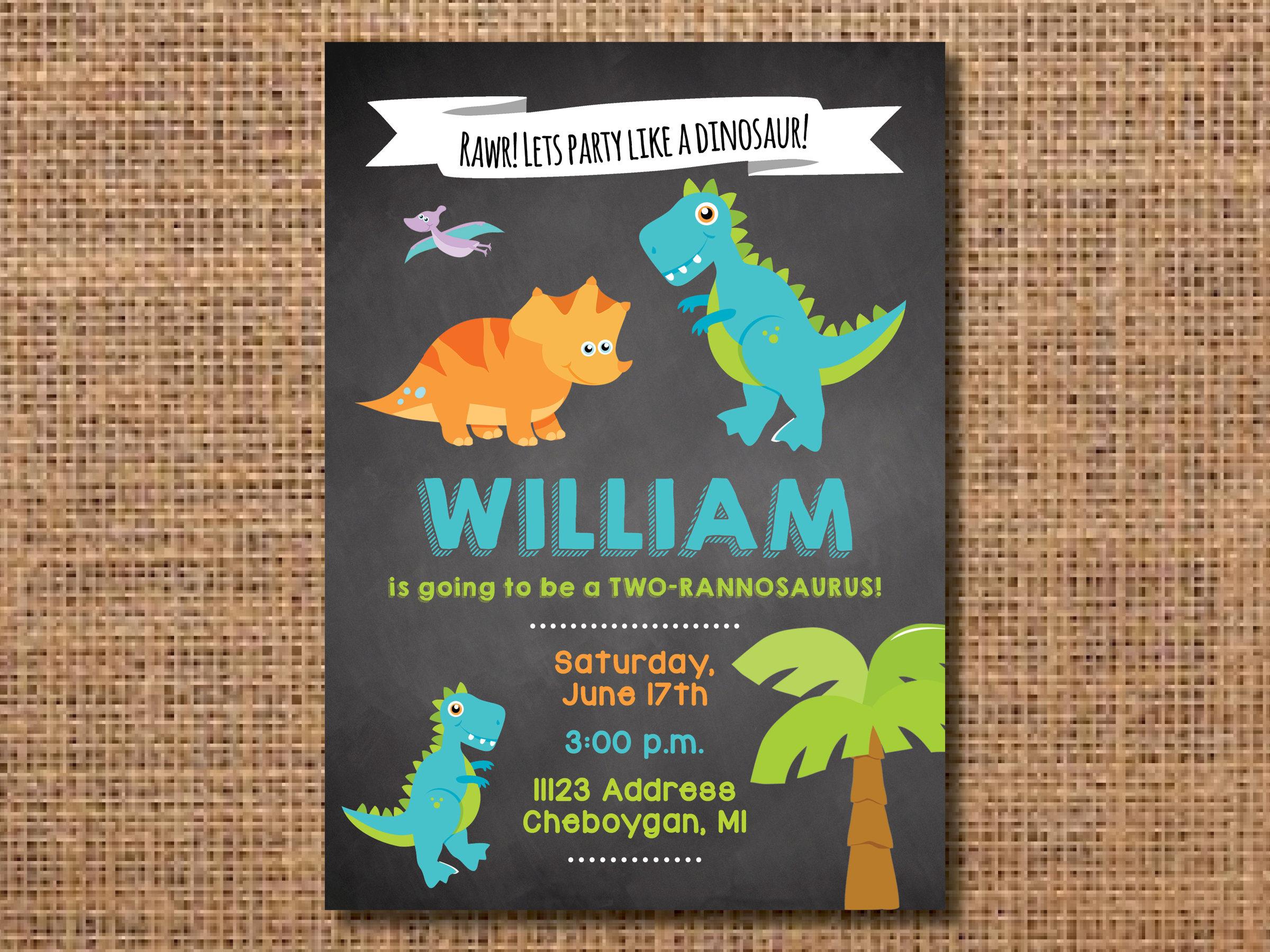 Dinosaur Birthday Invitation, First Birthday Boy Invitation ...