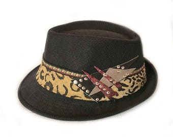 borsalino fedora hat, psychedelic hat, festival fashion hat, goa clothing, rave outfit, fedora hat for men, trilby steampunk, hand made hat
