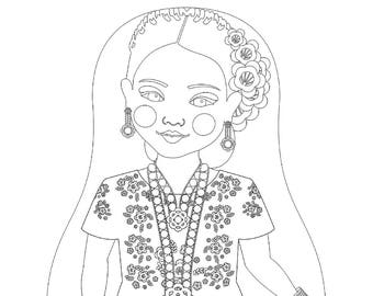 Mexican Tehuana Matryoshka Coloring Sheet Printable file