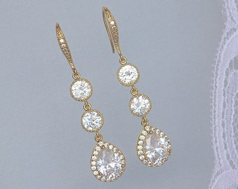 GOLD Crystal Teardrop  Earrings, Gold Crystal Bridal Earrings, Gold Bridesmaids earrings, CHARLIE G 2