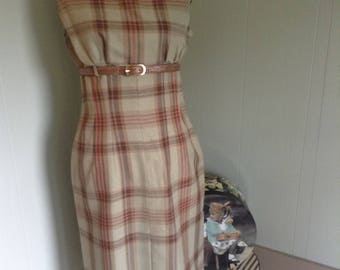 Vintage 70s Dress, Plaid Long Dress, Fitted 70s Dress, Belted Dress