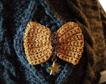 "Old lame crochet bow brooch is gold hand charm with ""Star"" gold"