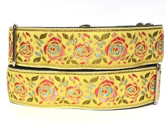 "martingale, dog collar, 1.5"" wide, BUTTERCUP, yellow floral roses, greyhound collar, sighthound collar, adjustable, training collar"