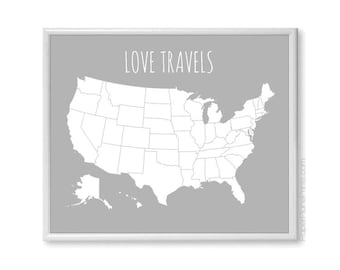 Large US Map Poster, Modern USA Travel Map With Stickers DIY Kit, Couples Map, Wife Mother's Day Gift, Anniversary Gift, Let's Get Lost