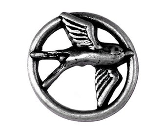Nicky Epstein Swallow  1 inch ( 25 mm ) Metal Shank Button Antique Silver Color