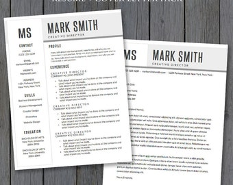 Resume Template and Cover Letter Template (2 Pack) - Resume Template Word, Cover Letter Template, Word - MS Word *INSTANT DOWNLOAD*