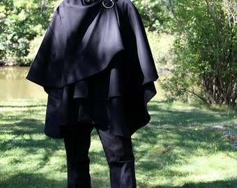 Double Cape - Wool Cape - Black Cape - Cape With Hood - Hooded Cape