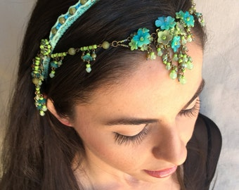 EXOTIC BEAUTY Beaded Floral Headband in Turquoise by Colleen Toland
