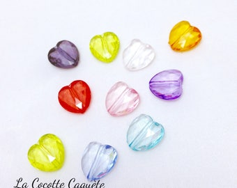 10 pearls transparent acrylic - multicolored - 12 x 12 mm hearts