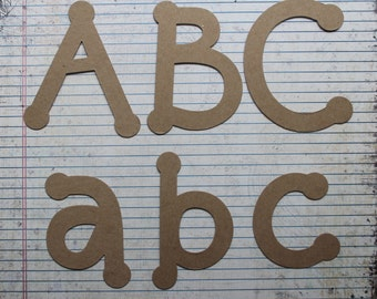 """4"""" DOT uppercase,lowercase or numbers bare chipboard alphabet die cuts [choice]"""