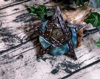 Crescent Pentacle Altar Tile Hand Carved Symbol