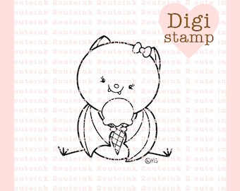 Ice Cream Bat Digital Stamp - Halloween Birthday Bat digital art for - Card Making - Paper Crafts - Scrapbooking - Stickers - Coloring Pages