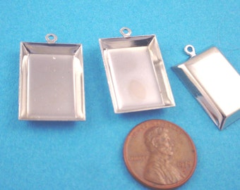 Silvertone Tapered Rectangle Bezel Cups with Loop 19x13