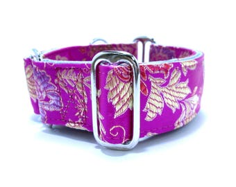 """Houndstown 1.5"""" Fuchsia Goldleaf Unlined Martingale or Buckle Collar Size Small, Medium, Large, X-Large"""