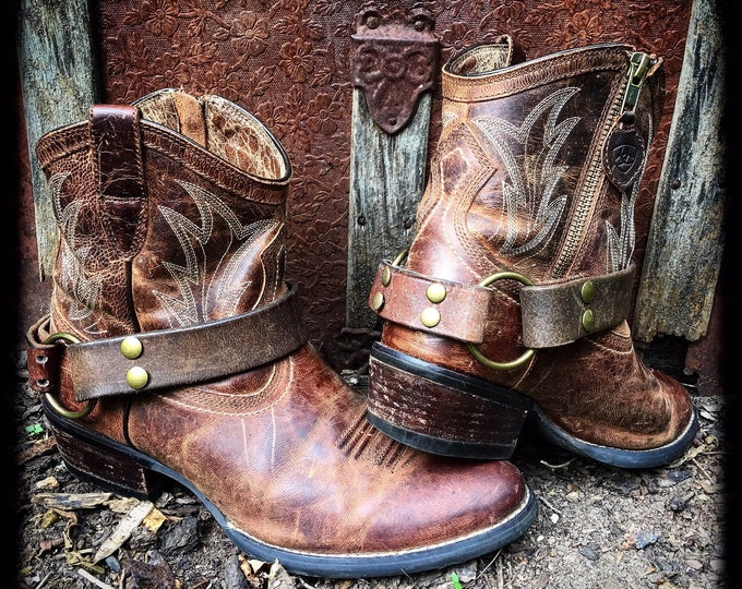 OLD WEST Distressed Dark Brown & Cognac Brown Veg Tanned Leather Boot Straps, Country Western, Handmade Boot Harnesses // Ready to Ship