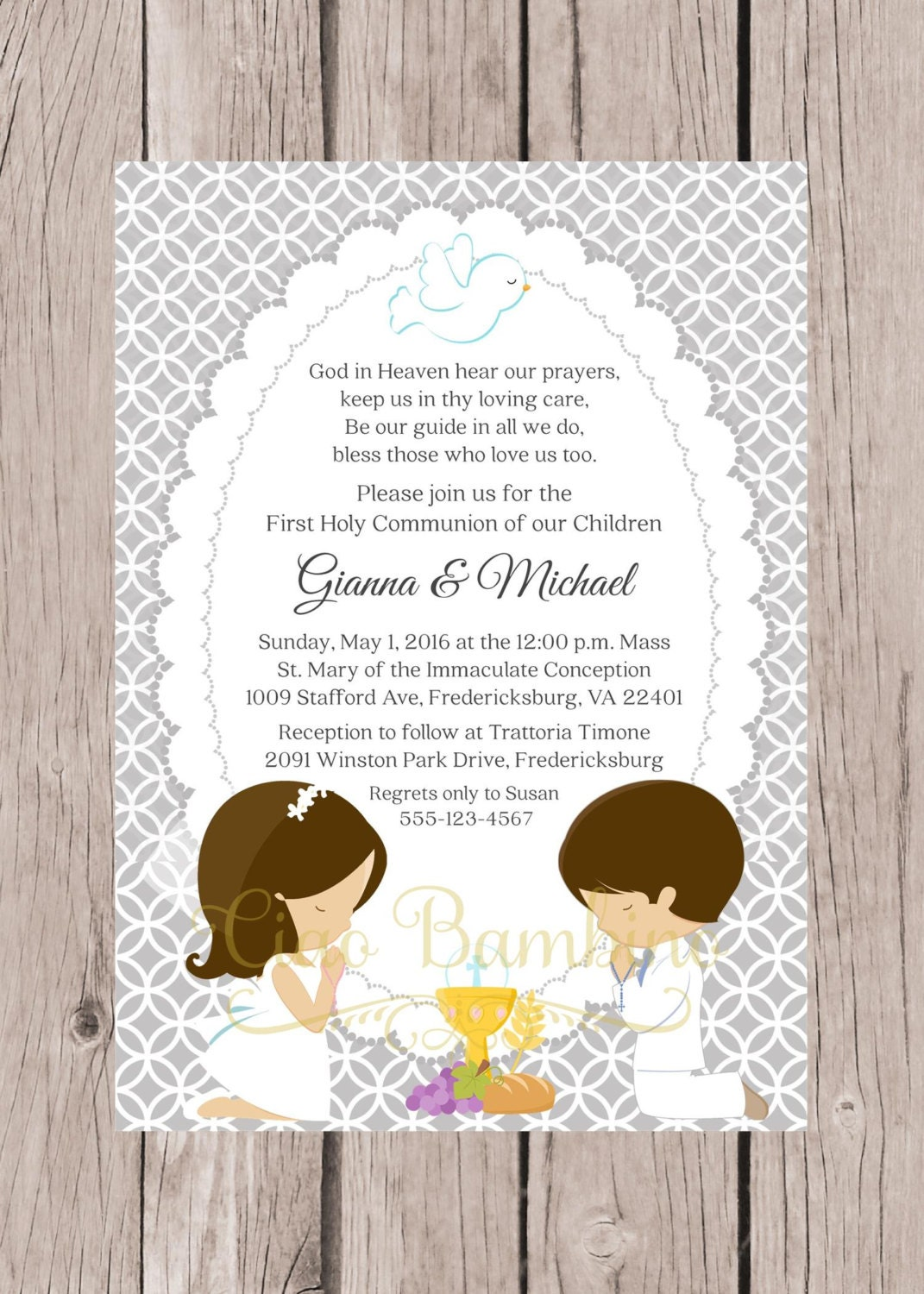 Clean image intended for printable first communion invitation