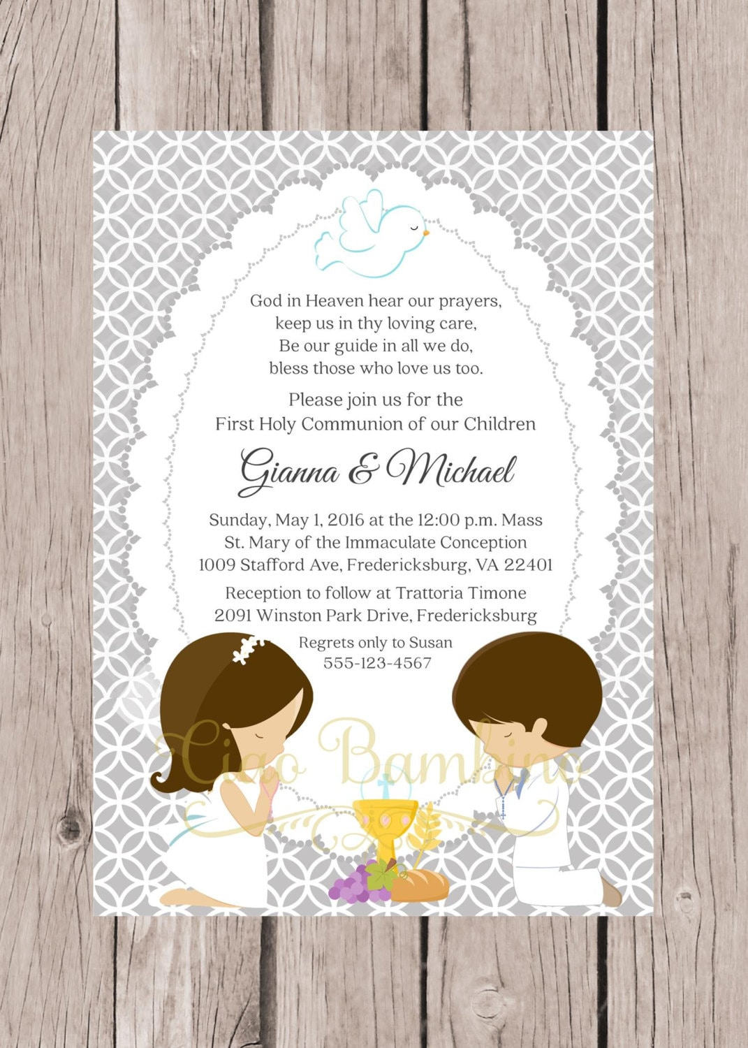 It's just a photo of Dashing Printable First Communion Invites