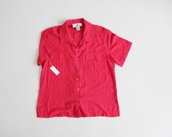 magenta pink blouse | raw silk blouse | 90s silk shirt
