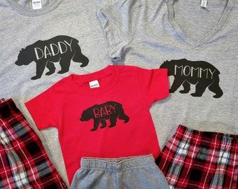Bear Family Pajamas, Family Christmas Pajamas, Infant Toddler Youth Christmas Pajamas, Holiday Pajamas, Bear Family