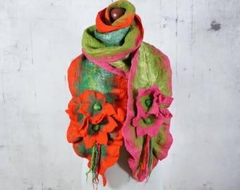 felted scarf, felted  shawl, woolen scarf, felt scarf, wrap scarf- Feltmondo