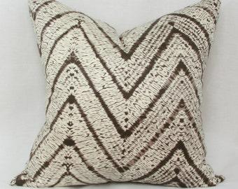 Brown ivory chevron pillow cover 18x18 pillow cover 20x20 pillow cover 18x18 brown pillow 20x20 brown pillow Batik pillow Chevron pillow